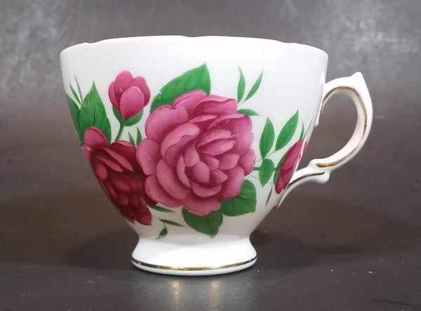 1950s Royal Vale Pink Roses & Leaves Bone China Teacup Gold Trim