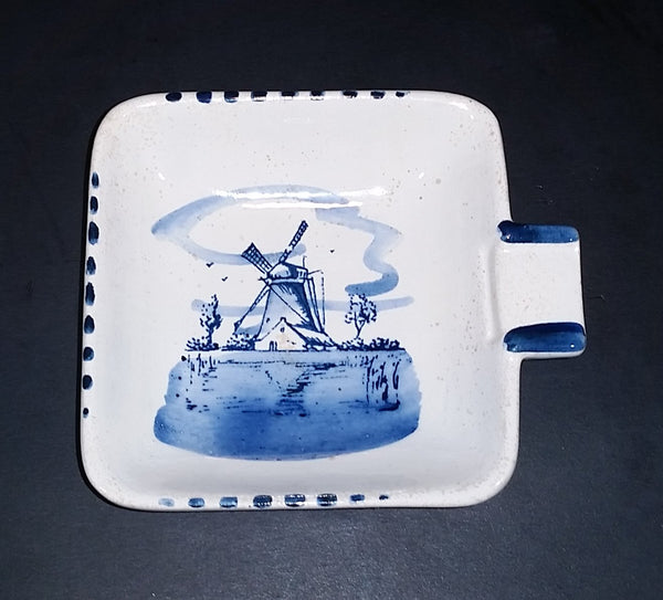 Vintage Delft Blue Windmill Ashtray - Delfts Handpainted Holland - Treasure Valley Antiques & Collectibles
