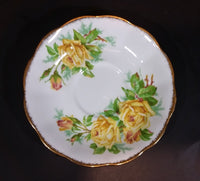 "1950s Royal Albert ""Tea Rose"" Yellow Bone China Saucer Plate 839056"