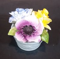 1950s Radnor Bone China Mixed Floral Purple Blue Yellow Bone China Bouquet
