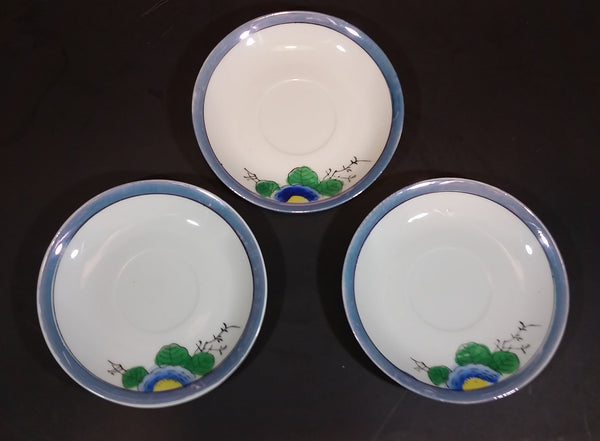 1930s Handpainted Noritake Lustreware Set of 3 Blue Floral Saucer Plates - Japan