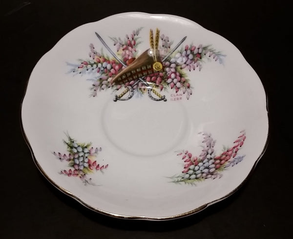 "1949-1959 Queen Anne Fine Bone China ""Clan Kerr"" Scottish Swords & Floral Teacup Saucer"