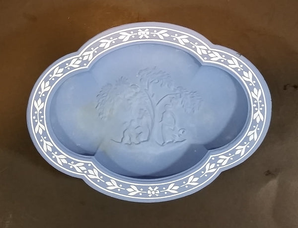 1971 Avon Avonshire Blue Pedestal Soap Dish - Wedgwood / Jasperware Style - Treasure Valley Antiques & Collectibles