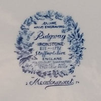 "1960s Ridgway Ironstone ""Meadowsweet"" Blue and White 9 3/4"" Dinner Plate"