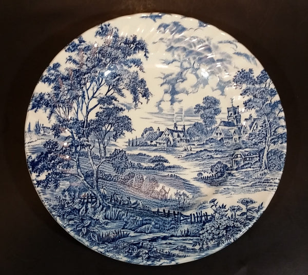 "1960s Ridgway Ironstone ""Meadowsweet"" Blue and White 9 3/4"" Dinner Plate - Treasure Valley Antiques & Collectibles"