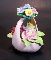 1950s Staffordshire FLORAL Bone China Mixed Flower Bouquet in Pink Basket - Treasure Valley Antiques & Collectibles