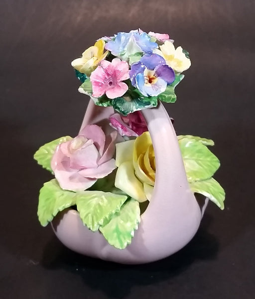 1950s Staffordshire FLORAL Bone China Mixed Flower Bouquet in Pink Basket