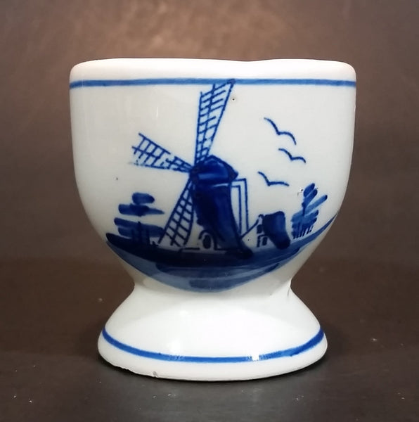 Vintage Handpainted Delft Blue Windmill Egg Cup - Treasure Valley Antiques & Collectibles