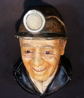 1990 Bossons Legend Products Chalkware Miner Face Wall Decor - Treasure Valley Antiques & Collectibles