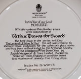 "1986 Wedgwood ""Arthur Draws The Sword"" 9"" Limited Edition Collector Plate #8782A In Box - Treasure Valley Antiques & Collectibles"