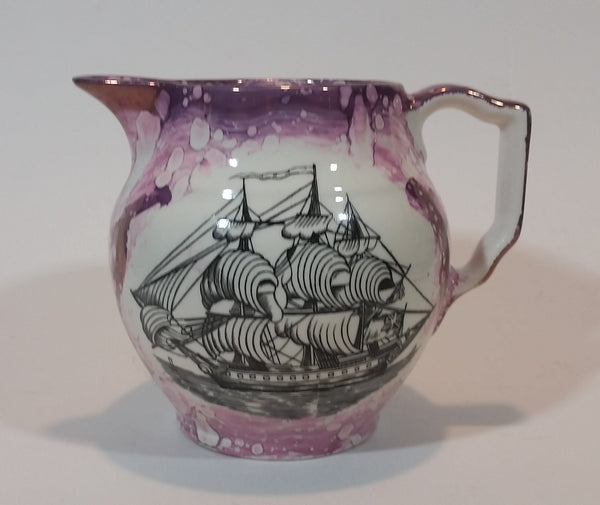"c. 1840 Antique Sunderland Pink Lustreware Mottoware ""Sailor's Fairwell"" Ship Ewer Jug - Treasure Valley Antiques & Collectibles"