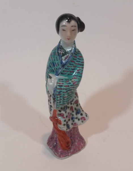 "Antique 1910-1940 Chinese Famille Rose 6"" Woman Porcelain Figurine - Treasure Valley Antiques & Collectibles"