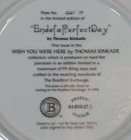 "1994 Bradex Thomas Kinkade Wish You Were Here ""End of a Perfect Day"" Limited Edition Collector Plate"