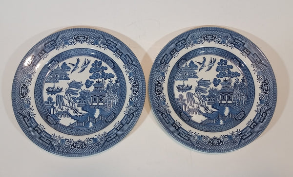 "1980s Churchill England Blue Willow Pattern 8"" Side Salad Luncheon Plates Set of 2"
