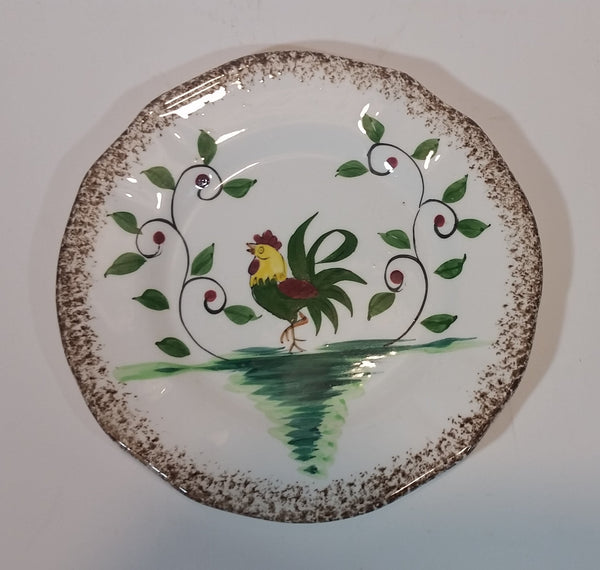 1950s Napco Brown Speckled Edged Handpainted Rooster Chicken with Vines Teacup Saucer Plate - Treasure Valley Antiques & Collectibles