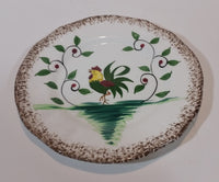 1950s Napco Brown Speckled Edged Handpainted Rooster Chicken with Vines Teacup Saucer Plate