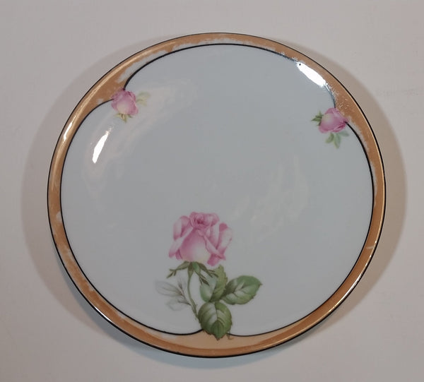 "1920s German Lustreware Peach Trim Pink Floral Roses Decor 6 1/2"" Plate - Treasure Valley Antiques & Collectibles"
