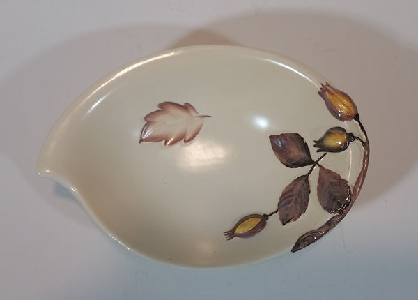 1950s Carltonware Handpainted Australian Design Embossed Hazelnut and Autumn Leaves Footed Candy or Soap Dish - Treasure Valley Antiques & Collectibles