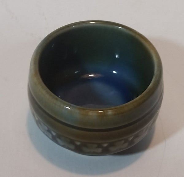 1960s Wade Irish Porcelain Shamrock Green Blue Glazed Sugar Bowl