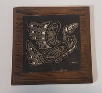 "Beryl Eales Handcrafted Scraperboard Etched ""Hoho"" Pacific N.W. Kwakiutl Indian Design - Treasure Valley Antiques & Collectibles"