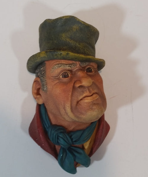 1964 Bossons England Bill Sikes Chalkware Face Head Wall Decor - Treasure Valley Antiques & Collectibles
