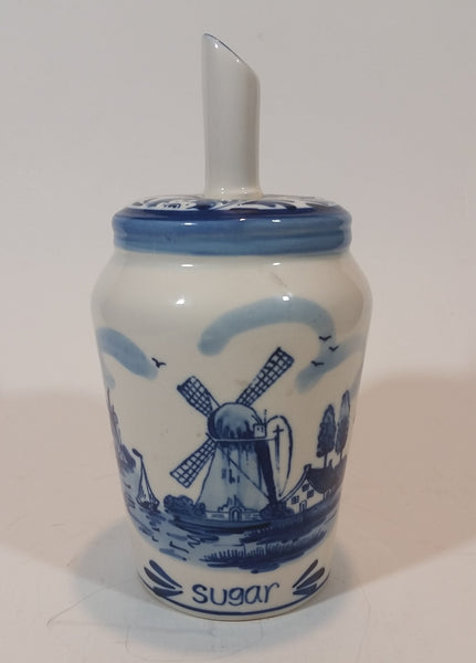 Vintage Delft Blue Sugar Pourer with Dutch Windmill and Flower Scenery - Treasure Valley Antiques & Collectibles