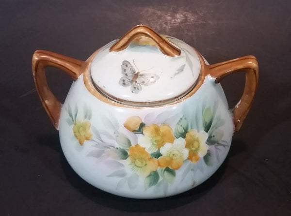 1920s Nippon - Japan Hand Painted Butterflies and Yellow Flowers Sugar Bowl - Treasure Valley Antiques & Collectibles