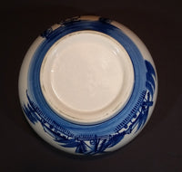 Vintage Delft Blue Windmills, Dutch Town, and Sailboats Scenery Bowl - Treasure Valley Antiques & Collectibles