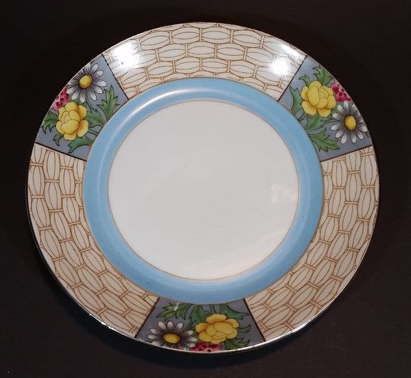 Antique 1918-1921 Noritake Morimura Bros. Handpainted Japan Blue Trim With Flowers Luncheon Plate - Treasure Valley Antiques & Collectibles