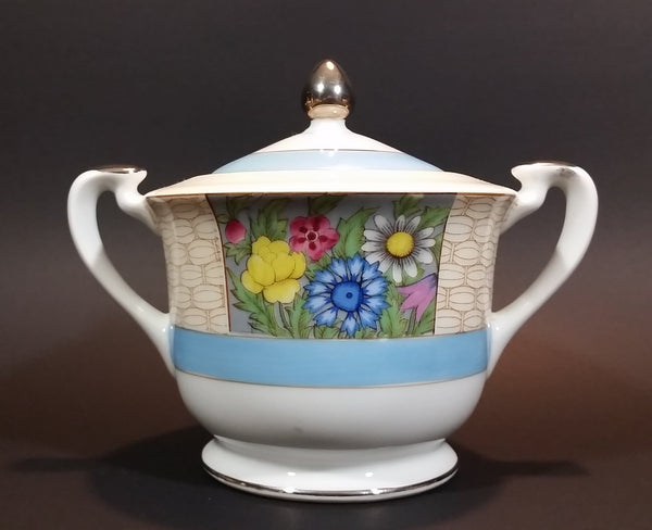 Antique 1918-1921 Noritake Morimura Bros. Handpainted Japan Blue Trim With Flowers Sugar Bowl - Treasure Valley Antiques & Collectibles