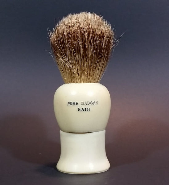 1940s Rubberset Pure Badger Hair Shaving Brush - Old King Rubberset Trademark - Made in Canada - Treasure Valley Antiques & Collectibles