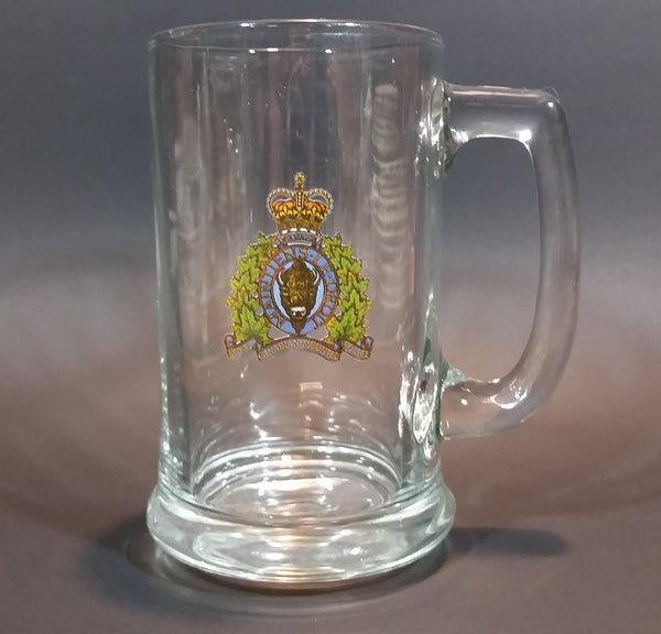 Vintage 1960s or 1970s RCMP Crest Clear Glass Mug Cup - Treasure Valley Antiques & Collectibles