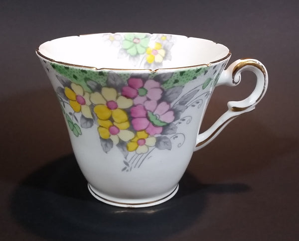 1939-1940 Wellington England Best Bone China Mixed Floral Gold Trim Porcelain Teacup Pattern 7857 - Treasure Valley Antiques & Collectibles