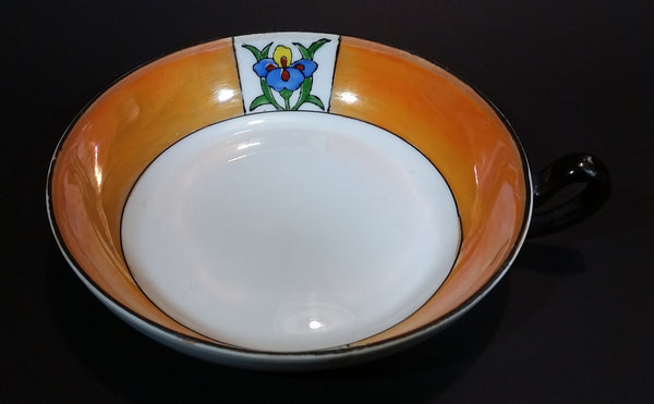 1920s Meito China Japan Art Deco Orange Lustreware Floral Soup or Vegetable Serving Bowl with Handle - Treasure Valley Antiques & Collectibles