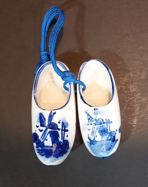 Vintage Delft Blue Miniature Hand Painted Porcelain Windmill Shoes - Treasure Valley Antiques & Collectibles