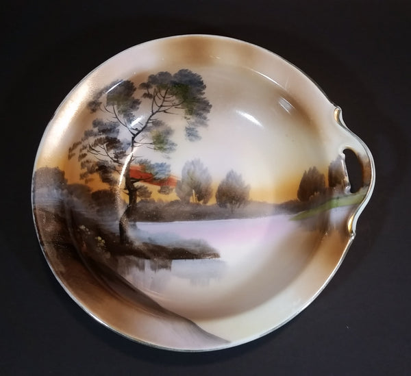 Antique 1914-1921 Noritake Morimura Bros. Handpainted Japan Scenic Vegetable Serving Dish With Handle - Treasure Valley Antiques & Collectibles