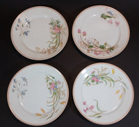 1876-1882 Limoges CH (Charles) Field Haviland Peach Trim Flower Decor Plates -  Set of 4 - Treasure Valley Antiques & Collectibles