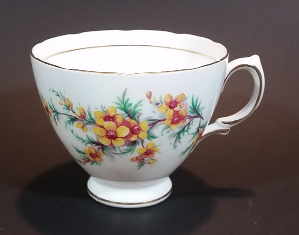 1950s Royal Vale Yellow Flowers & Ferns Bone China Teacup Gold Trim Pattern Number 6849 - Treasure Valley Antiques & Collectibles