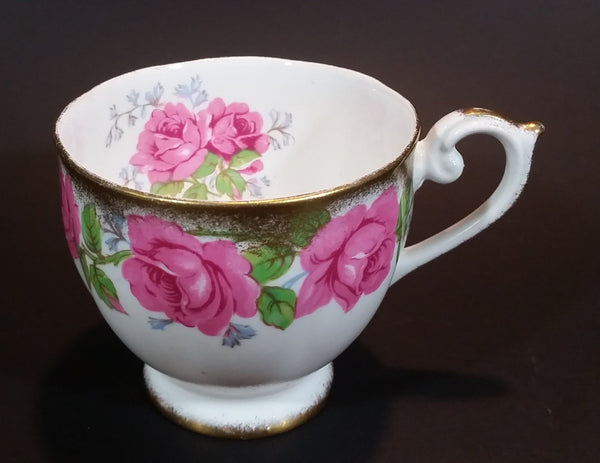 Early 1950s Queen Ann Fine Bone China England Pink Roses Flower Decor Gold Gilt Teacup Pattern Number 4673 - Treasure Valley Antiques & Collectibles