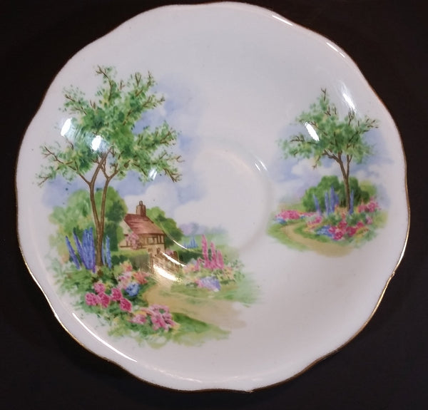 "1950-1959 Queen Anne Fine Bone China England ""Tudor Cottage"" Teacup Saucer - Treasure Valley Antiques & Collectibles"