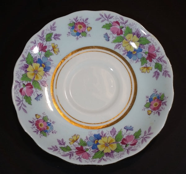 1939-1945 Colclough Bone China Longton England Baby Blue with Gold Trim Floral Pattern Teacup Saucer - Treasure Valley Antiques & Collectibles