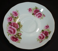 1959-1964 Queen Anne Bone China England Pink Roses Floral Pattern Gold Trim Teacup Saucer