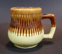 1970s Brown and Light Yellow Drip Glaze Mug Cup - Made in Taiwan - Treasure Valley Antiques & Collectibles