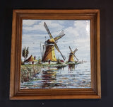 Rare 1960s Delft Blauw Holland Handpainted Colored Windmill, Cottage, and Shoreline Wooden Framed Ceramic Tile - Treasure Valley Antiques & Collectibles