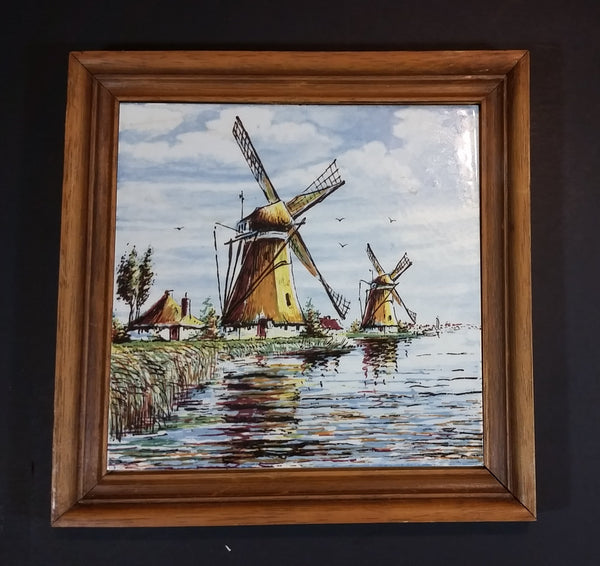 Rare 1960s Delft Blauw Holland Handpainted Colored Windmill, Cottage, and Shoreline Wooden Framed Ceramic Tile