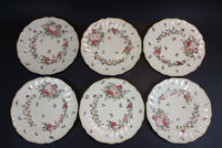 "1930s Royal Doulton ""Wildflower"" Pink and Red Floral with Faint Yellow Edge 8 1/2"" Dinner Plates - Set of 6"
