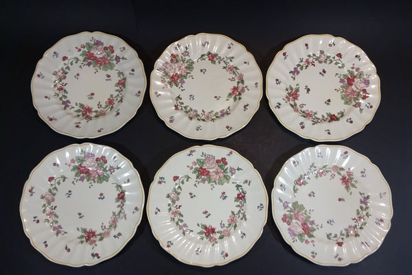 "1930s Royal Doulton ""Wildflower"" Pink and Red Floral with Faint Yellow Edge 8 1/2"" Dinner Plates - Set of 6 - Treasure Valley Antiques & Collectibles"