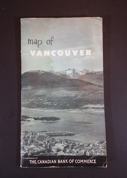Rare 1945 Canadian Bank of Commerce Promotional Vancouver Location Map With Index Book - By Graphics Publishers Canada