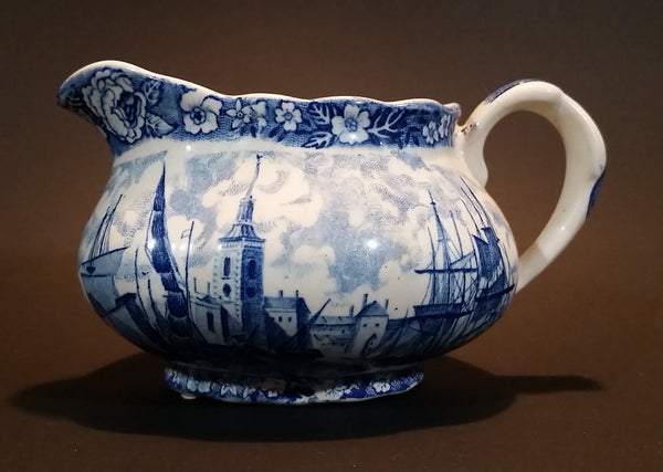 1950s Palissy England Rotherhithe Thames River Scenes Creamer Blue and White