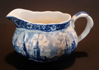 1950s Palissy England Rotherhithe Thames River Scenes Creamer Blue and White - Treasure Valley Antiques & Collectibles